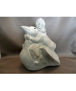 Signed Concrete Garden Sculpture (2001) Isabel Bloom Girl Riding Swan - $15.99