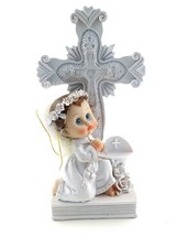 Girl Angel in White Praying Next to Cross & Holy Water Well Statue Cake Top - $12.86