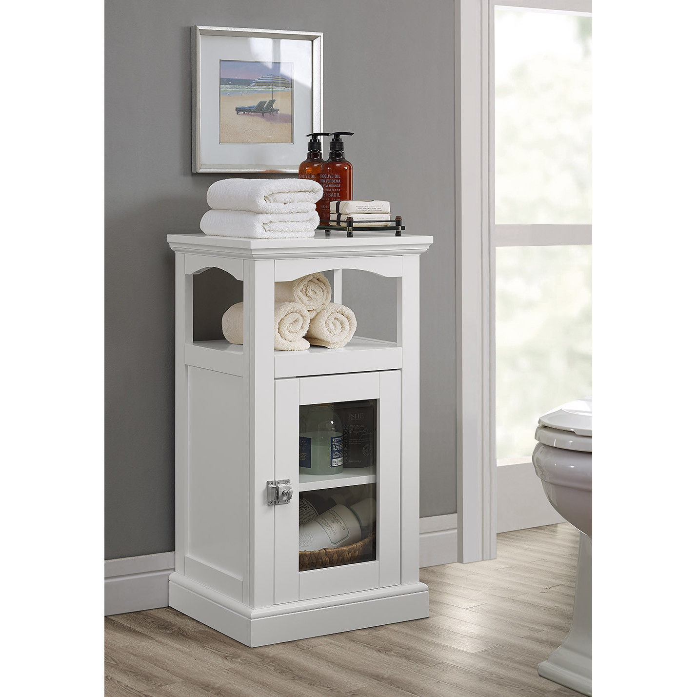Cabinet Bath Storage Linen Closet Shelf Toilet Organize Towels Vanity Cosmetics Cabinets