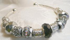 Black and Gray Bracelet Bangle European Beads G... - $24.00