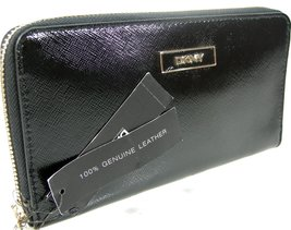 DKNY Donna Karen Zip Around Wallet Purse Hand Bag Shiny Saffiano Leather - $112.86