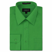 NEW Omega Italy Men's Dress Shirt Long Sleeve Solid Color Regular Fit 10 Colors image 12