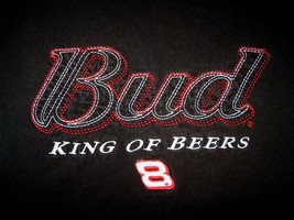 Budweiser Nascar 8 King of Beers Bud Embroidered Black Mens Tee T-Shirt XL - $12.82