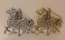 Vintage Plastic Carousel Horses Silver Golden Glittered Christmas Orname... - $14.75