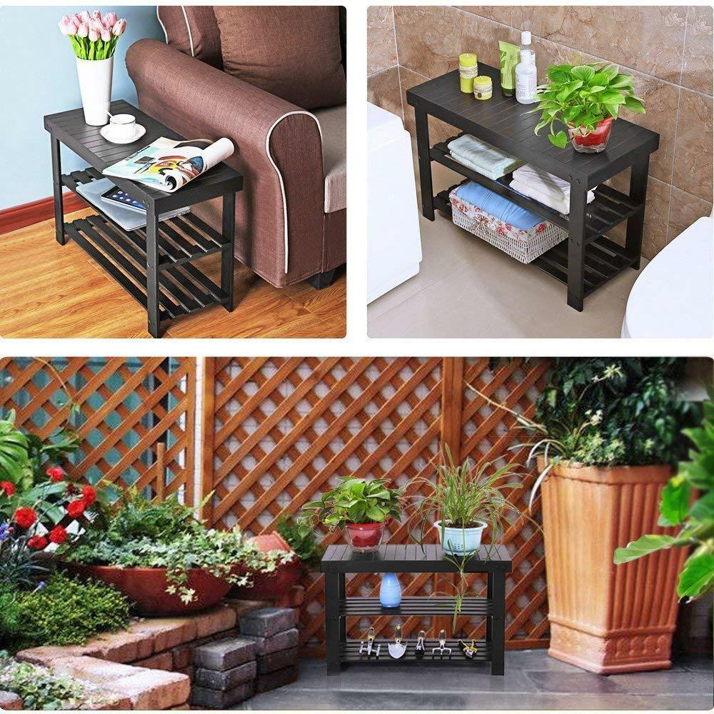 Bamboo Bench Shelf 3 Tier Shoe Organizer Books Plants Display Bathroom Black NEW
