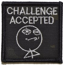 Challenge Accepted Meme Stick Guy 2x2 Military Patch / Morale Patch - Multiple C - $4.89