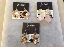 New Jubilee Three 3 Sets of Pink Gold Toned Hanging Earrings Floral Swirl Flower