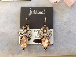 New Jubilee Three 3 Sets of Pink Gold Toned Hanging Earrings Floral Swirl Flower image 2