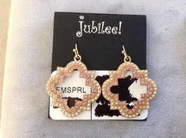 New Jubilee Three 3 Sets of Pink Gold Toned Hanging Earrings Floral Swirl Flower image 3