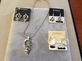 New Jubilee Earrings Necklace Set Black Silver Toned Swirl Pattern
