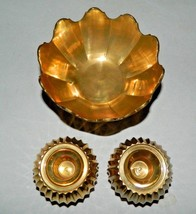 Vintage Andrea By Sedak Small Brass Candle Holders With Brass Bowl - Num... - $46.71