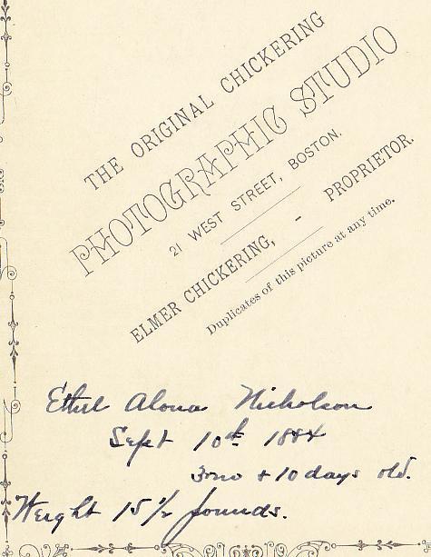 Ethel Alona Nicholson Cabinet Photo - Boston, Massachusetts