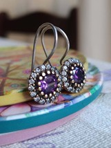 Handmade Sterling Silver Amethyst Drop Earrings for Women - $49.00