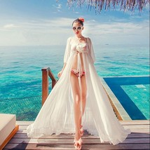 Sexy white chiffon swimwear bikini cover up beach long casual dress thumb200
