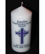 Personalised Christening Baptism Gift Keepsake Cellini Candles Cross #1 - $18.80