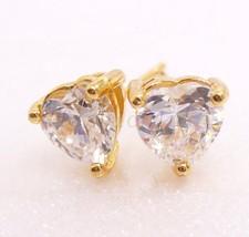Men Women Heart Stud Earrings Pair 18K Yellow Gold Plated 6mm CZ Cubic C... - $9.57