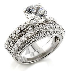 2.25 Carat Lady's Engagement, Wedding Ring Sets With Clear Round CZ, Size 5