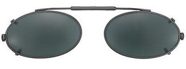 Visionaries Lo Oval Clip on Sunglasses - Black Frame - Polarized Grey Le... - $37.40