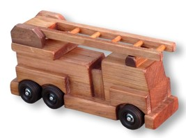 FIRE ENGINE LADDER TRUCK WOOD TOY Amish Handmade Wood First Responder To... - $40.15