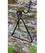 WROUGHT IRON DINNER BELL SET - Amish Blacksmith Hand Forged Triangle Chi... - $48.97