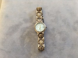 Used Good Condition Silver Toned LA Express Watch Baby Blue Face