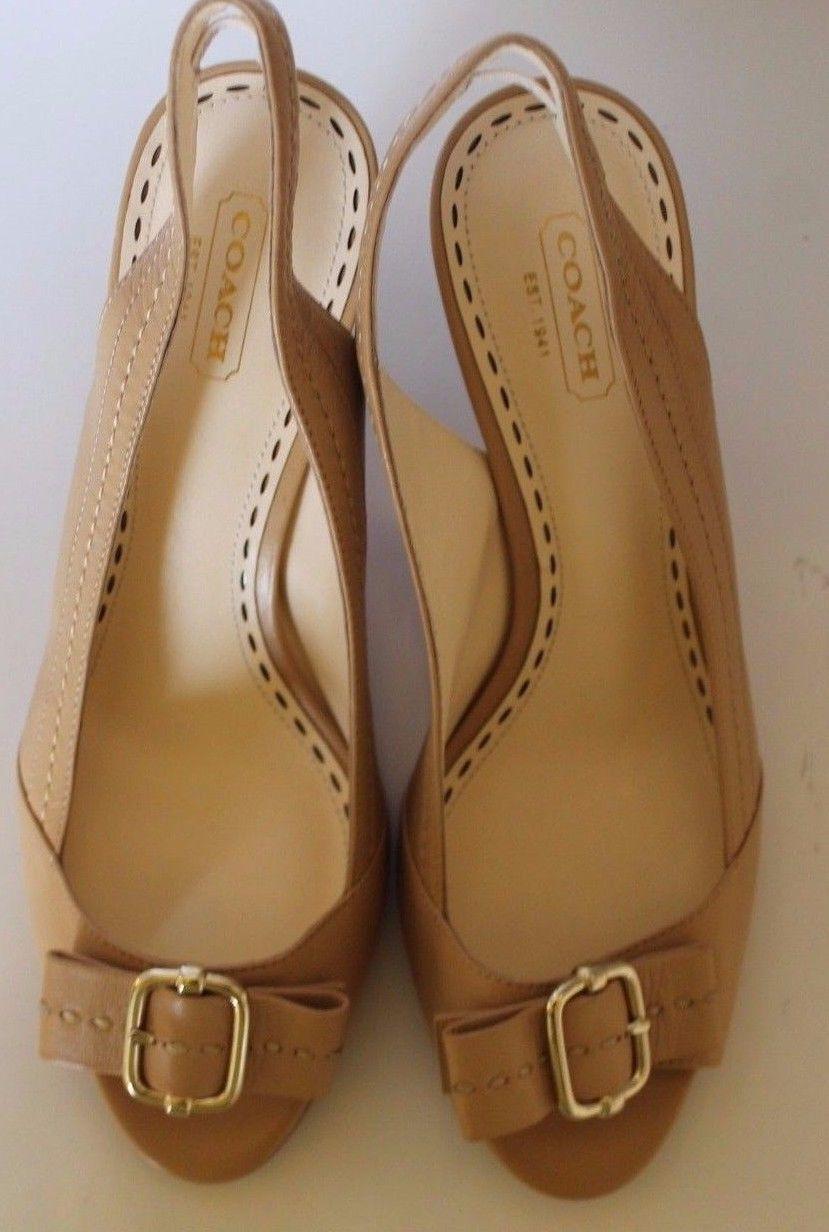 Classic Coach Miranda Open Toe Women Shoes Heel 8.5 100% Leather Silver Buckle