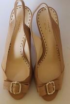 Classic Coach Miranda Open Toe Women Shoes Heel 8.5 100% Leather Silver Buckle - $65.43