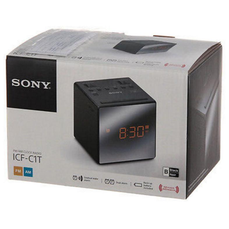 sony icfc1tblack alarm clock radio large led display black sale digital clocks clock radios. Black Bedroom Furniture Sets. Home Design Ideas