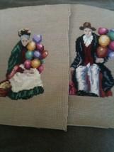 Lot 2 Vintage Finished Needlepoint Balloon Man ... - $51.34