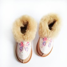 Womens Slippers | Sheepskin Moccasin Slippers | Fuzzy Sheep Fur Booties ... - £35.02 GBP
