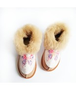 Womens Slippers | Sheepskin Moccasin Slippers | Fuzzy Sheep Fur Booties ... - $49.00