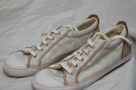 Womens Size 8.5 Coach M Flats Canvas Athletic Lace up Tan/White Fast Ship - $22.89