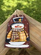 Prmitive Wood Gift Tag 505-69705T Snowman Tag Ornament  - $2.95