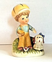 Homco figurine little boy with yellow hat and his dog vintage 1430-c rare - $2.50