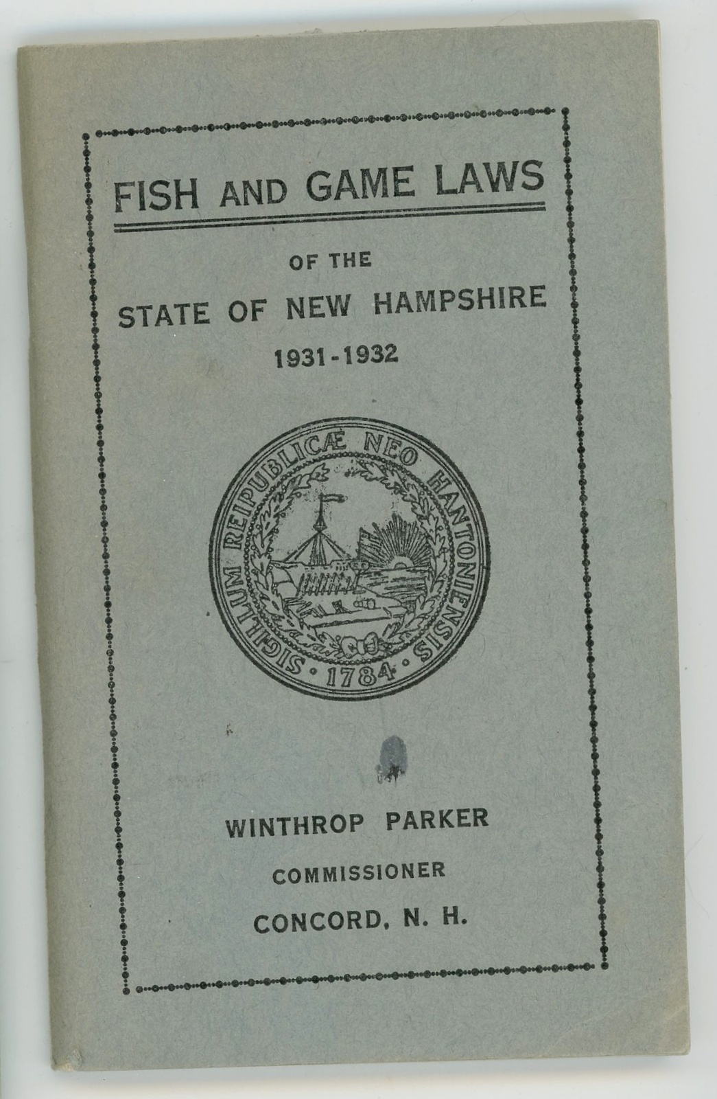 1931 32 new hampshire fish game laws booklet vintage for Nh fish game