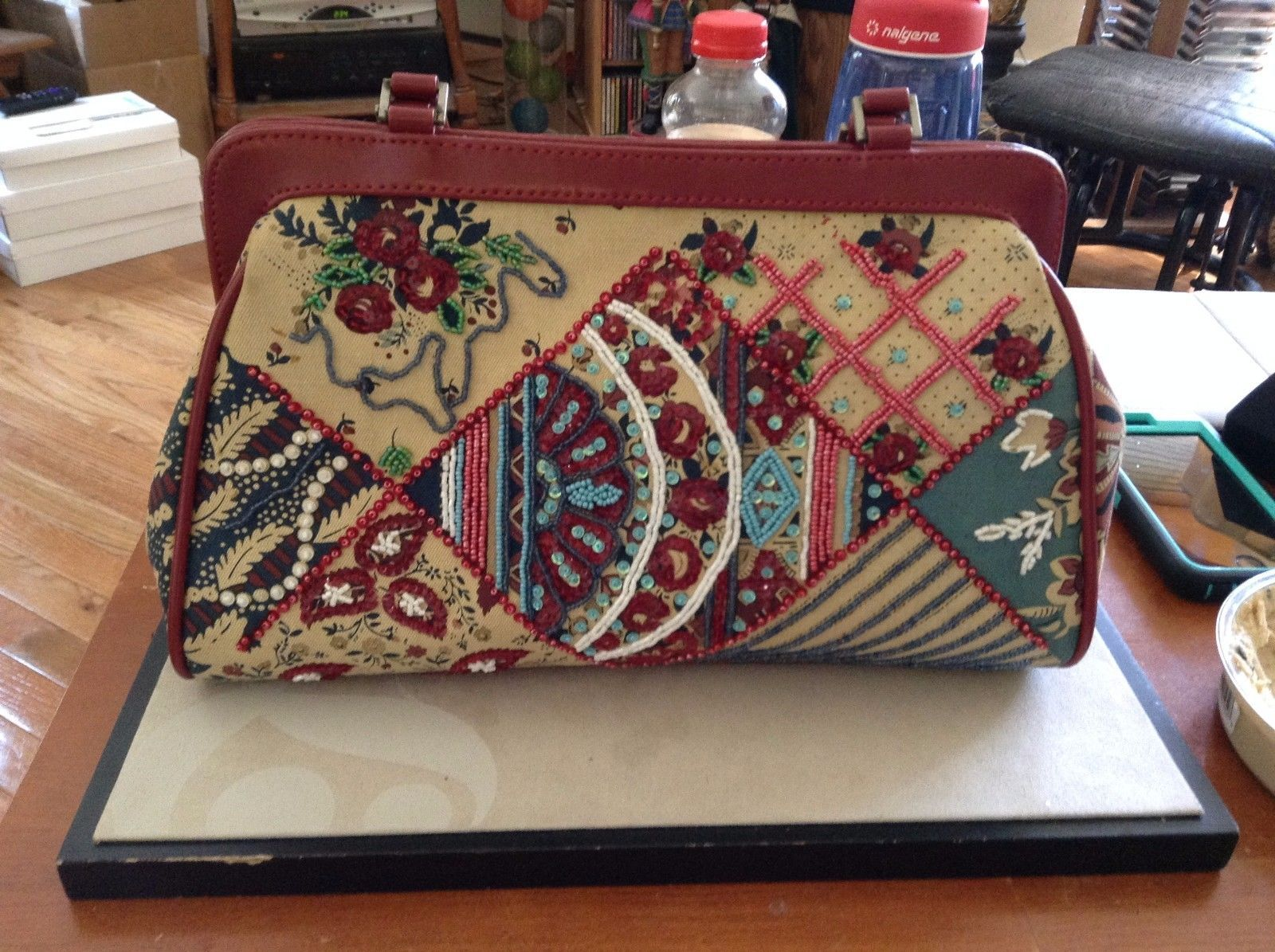 Used Great Condition Red Purse Red Checkered Inside Flower Embroidery