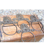 FOUR Cast Iron Wall Rings curtain Tie-Backs Rust Finish bz - $54.99