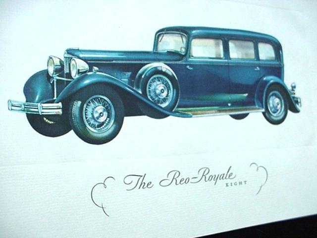 c.1930's Salesman Reo Royale Eight 8 Automobile Showroom Invitation Car Brochure