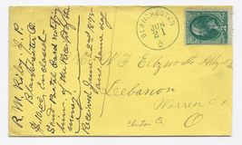 1875 Blanchester OH Vintage Post Office Postal Cover - $9.95