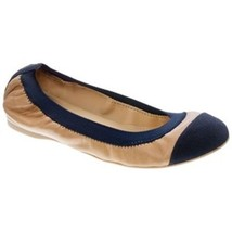 J Crew Mila Leather Ballet Flats Slip On Canvas Cap Toe Nude Navy Blue S... - $59.99