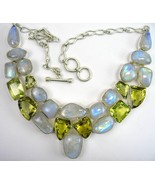 Abstract Blue Flash Moonstone and Golden Citrine Sterling Silver Collar ... - $322.84