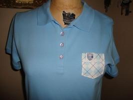 Frat Frocket Light Blue  Argyle  Pocket Fitted Women's Polo Shirt NWOT L - $24.74