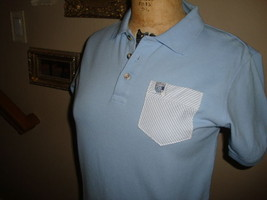 Frat Frocket Light Blue  Seersucker Pocket Fitted Women's Polo Shirt NWOT M/L - $24.74