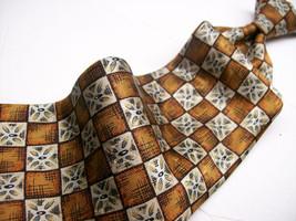 ROBERT TALBOTT Gold ABSTRACT Geo Mens 100 SILK Necktie 6-19 - $17.99