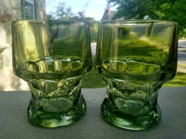 "2  Green Georgian 4"" Flat Tumblers  - $10.90"