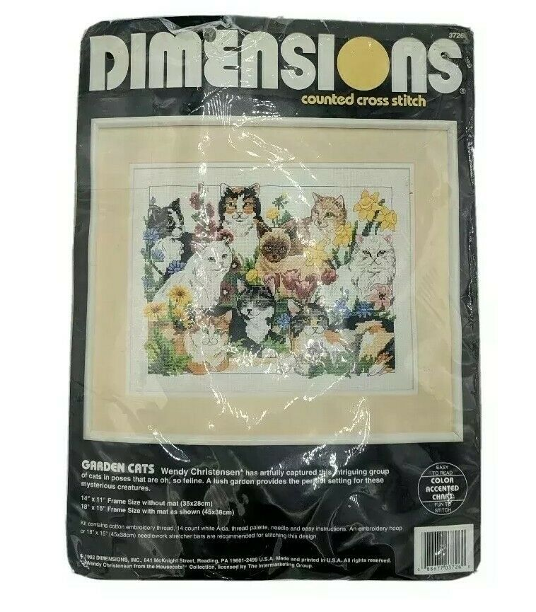 """VTG 1992 Dimensions Counted Cross Stitch Kit #3726 Garden Cats 14""""x11"""" - $24.95"""
