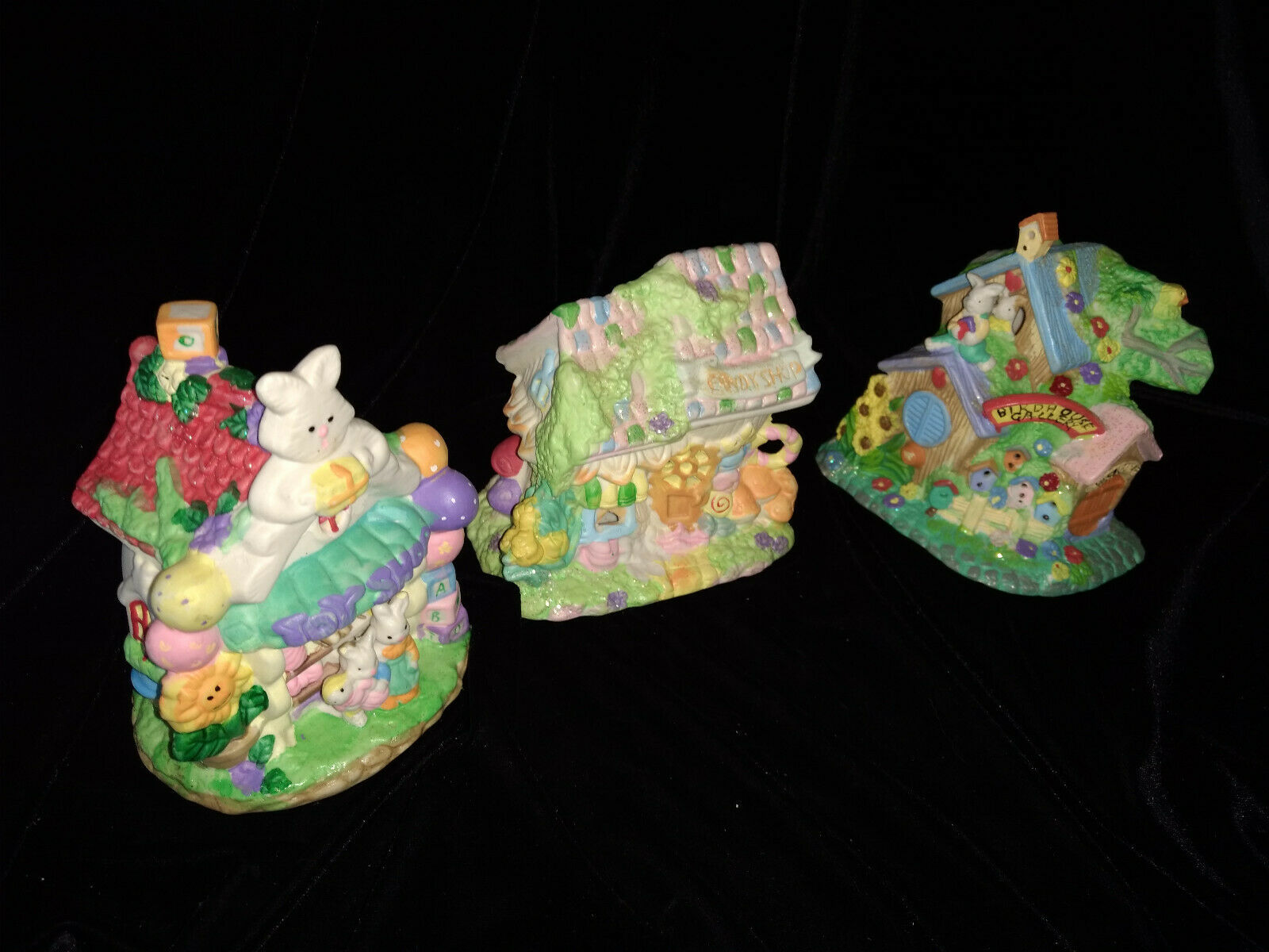 Hoppy Hollow Easter Village Ceramic Houses Set of Three (Lot #4)