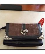 New Bingham by Dynasty Wallet Purse Black Brown Hearts in Silver Tone Zi... - $50.48