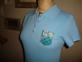 Frat Frocket Light Blue  Plaid  Pocket Fitted Women's Polo Shirt NWOT M - $16.82