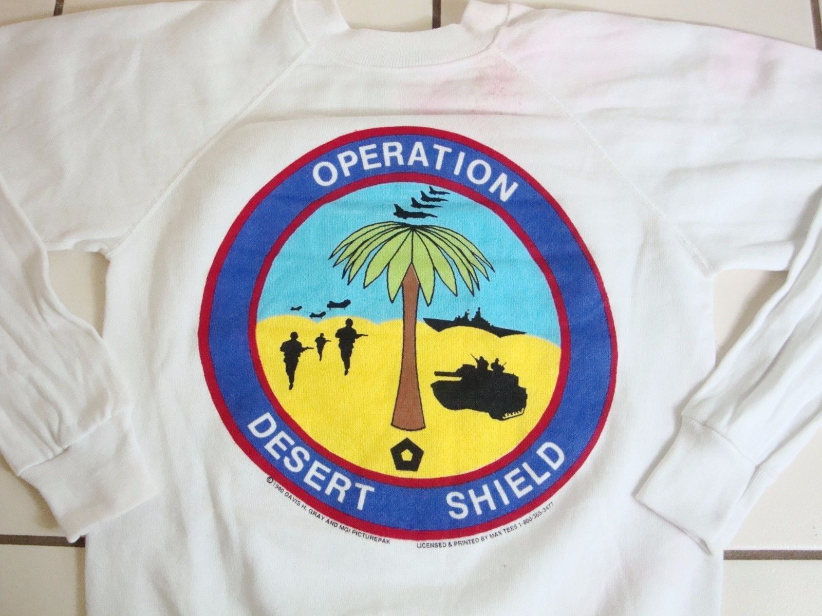 Vintage Operation Desert Storm Support Our Troops 1990 Crew Neck Sweatshirt XS - $24.74